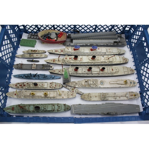 223 - A Collection of Triang Minic Ships to including Liners, Cargo Ships, etc along with pontoons, Cranes...