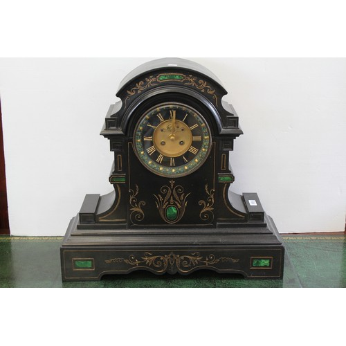 198 - A late Victorian slate and marble cased mantle clock with visible escapement, gilt face, roman dial....