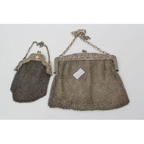 43 - A late 19th Century French Silver handbag and one other silver plated. Weighing: 273g