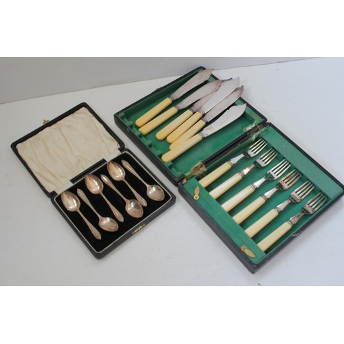 47 - A set of 6 Silver tea spoons in a Case along with plated fish cutlery set in an Original Box, etc.