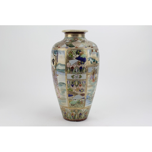 200 - A Late 19th/20th century Kyoto Satsuma crackle glazed vase painted with a dignitary in landscape wit...