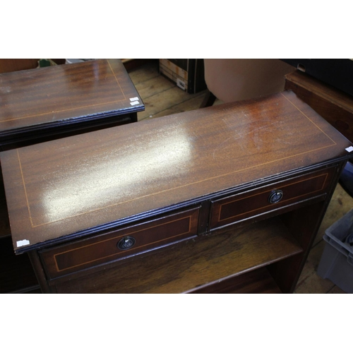 321 - A Pair of Modern Reproduction Open Fronted Book Case with a line inlay resting on bracket feet. Meas...