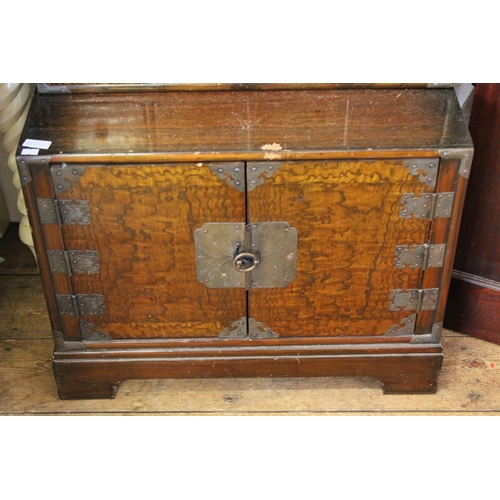142 - A Korean Multi Drawer Table Cabinet with a scroll & Metal mounted top fitted with 16 Drawers. Measur...