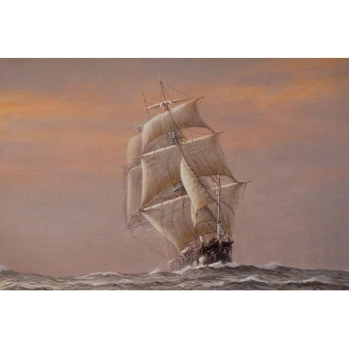 517 - An Early Rodney Charman oil on canvas depicting an 18th Century boat