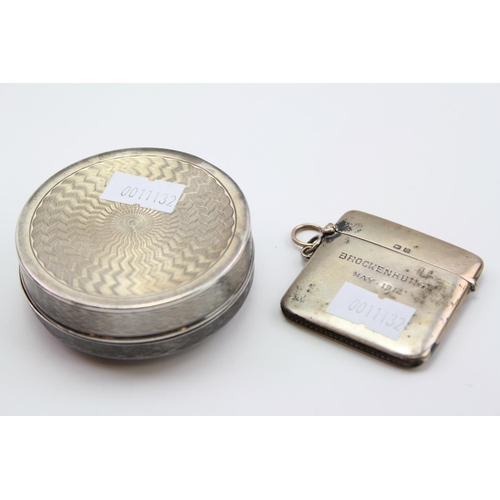 3 - A French Silver and engraved Toilet Box along with a large Silver vesta case.