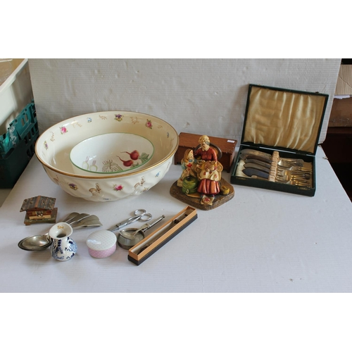 410 - A large Pottery Toilet Bowl, various cutlery and other items.