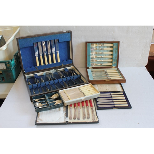 40 - A quantity of Silver plated cutlery in individual  boxes.