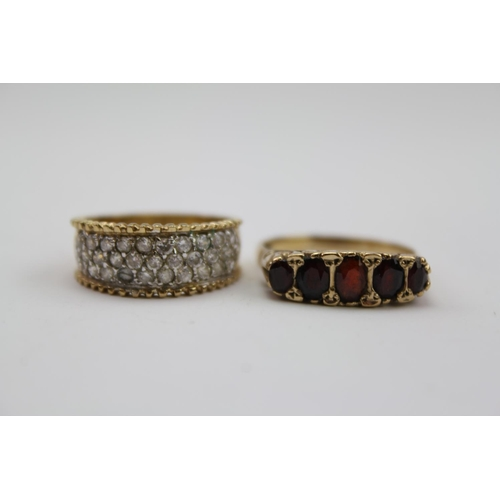 75 - A 9 carat Gold 5 stone Garnet set Dress Ring along with one other dress ring.