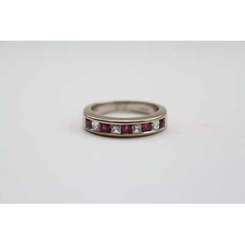 86 - A (750) marked Gold and Diamond Ruby Half Eternity Ring along with a Scent bottle (925) pendant.