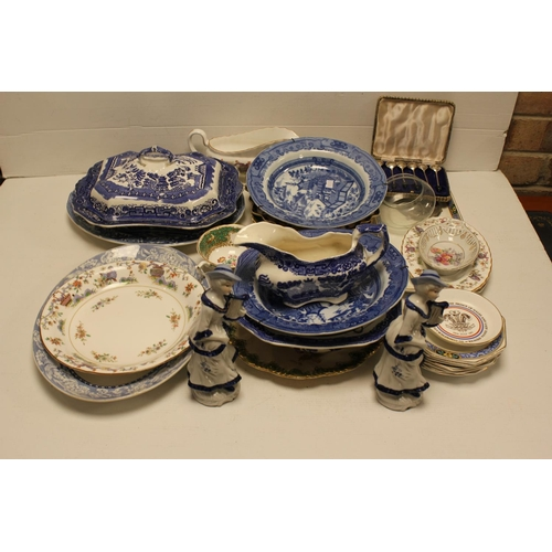 480 - A Crown Derby Fruit Dish decorated in rust blue and gilt blue and white china, a Victorian service s...