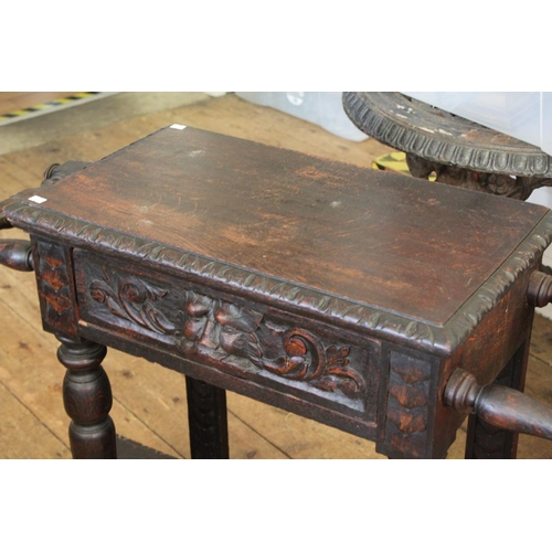 371 - A Victorian Pussycat carved oak side table/umbrella stand fitted single drawer.