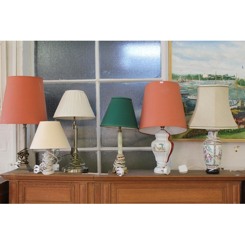 549 - An Onyx Table Lamp, Italian Coach decorated Lamp along with 4 others.