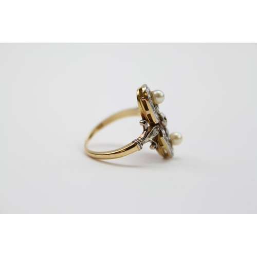 105 - A Ladies Pearl and Diamond set Dress Ring with old cut Diamonds. Size J.