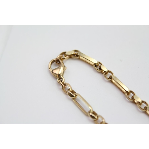 113 - A 9 carat Gold double curb link chain with a 9 carat Gold Concorde pendant. Weighing: 19.7 grams.
