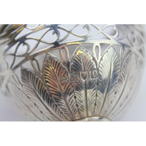 32 - A Victorian pierced Silver Sugar Vase decorated with curtains & thistles. Weighing: 171 grams.