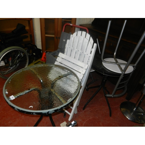 14 - 2 GLASS TOPPED BISTRO TABLES, 2 WOODEN FOLDING CHAIRS & 2 CHAIRS...