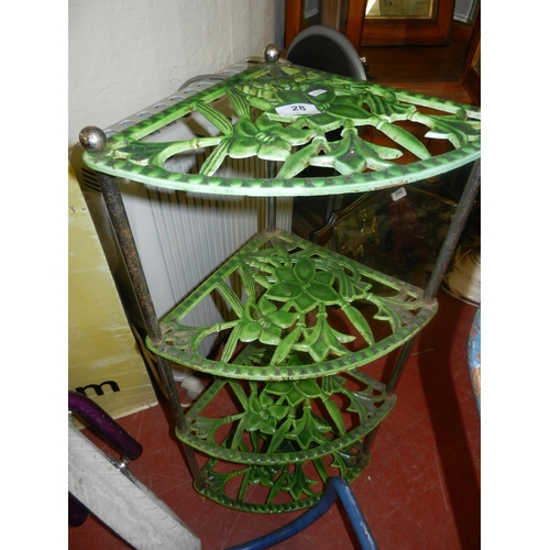 28 - GREEN CAST IRON PAN STAND...