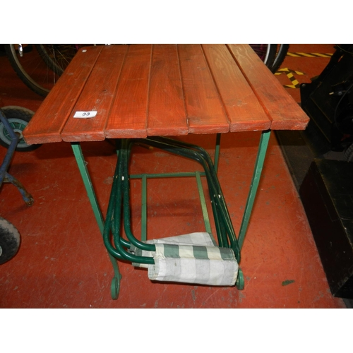 33 - CHILD'S GARDEN TABLE & 2 FOLDING CHAIRS...