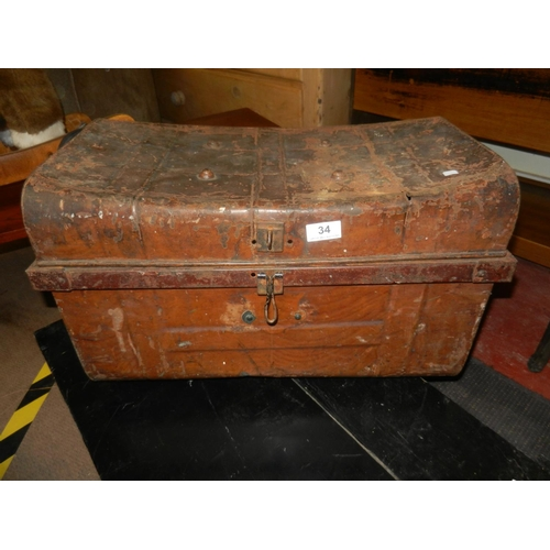 34 - METAL STORAGE TRUNK...
