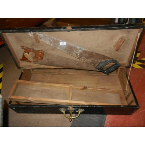 35 - WOODEN JOINER'S TOOL CHEST & TOOLS...