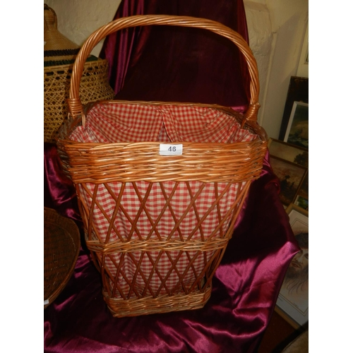 46 - WICKER LINEN BASKET...