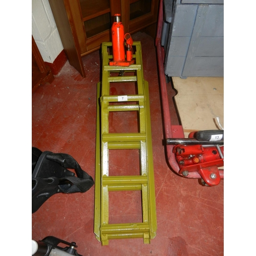 7 - PAIR OF CAR RAMPS & A BOTTLE JACK...