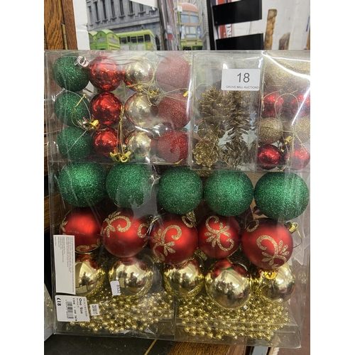 18 - NEW BOXED CHRISTMAS TREE DECORATIONS SET