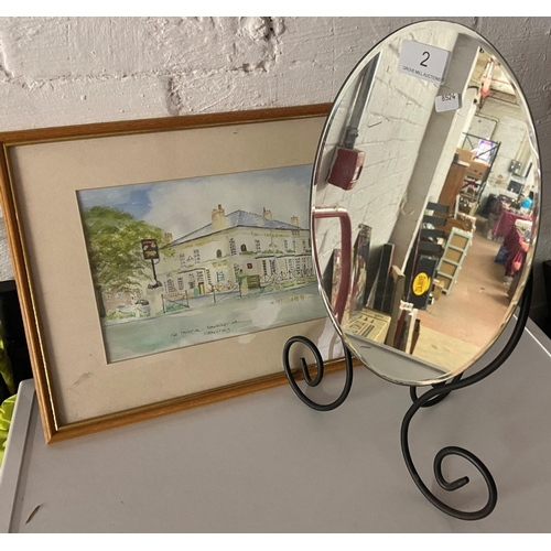 2 - DRESSER MIRROR & FRAMED WATERCOLOUR...