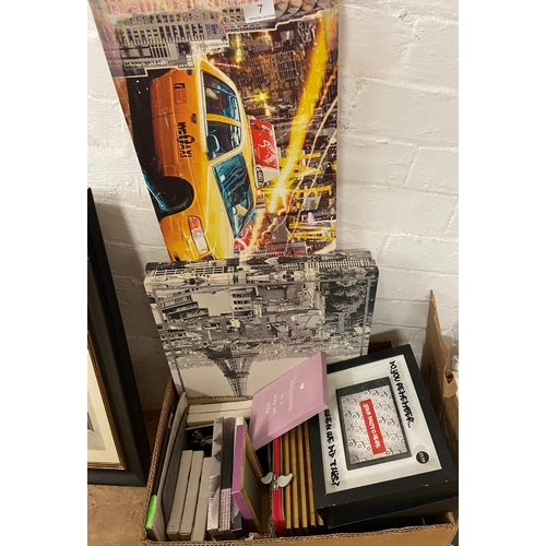 7 - BOX OF PICTURES & CANVAS PRINTS