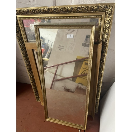 3 - GILT FRAMED MIRROR & 2 OTHERS