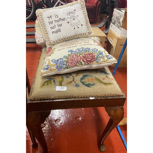 40 - TAPESTRY TOP PIANO STOOL, 2 CUSHIONS & A DOORSTOP