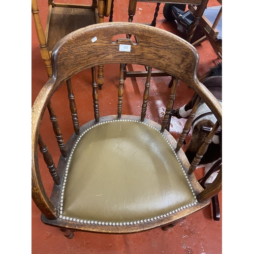 45 - SPINDLE BACK LEATHER SEATED CHAIR