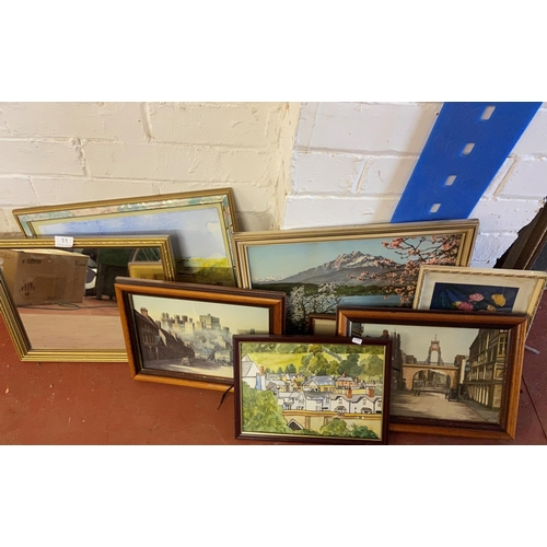 11 - STACK OF FRAMED WATER COLOURS & PRINTS...