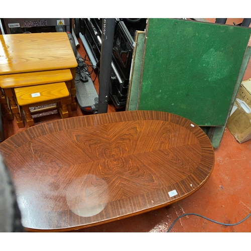 33 - 2 CARD TABLES & OVAL COFFEE TABLE(A/F)...