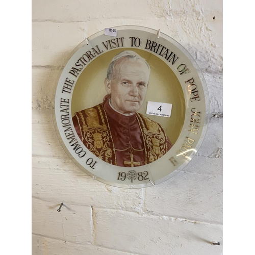 4 - POPE JOHN PAUL 2 GLASS PLATE...
