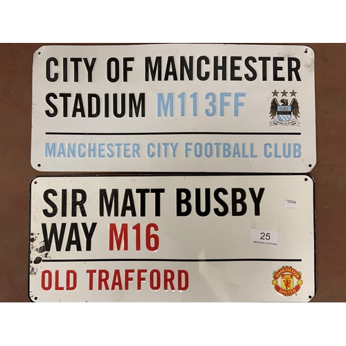 25 - 2 METAL 'MANCHESTER' SIGNS