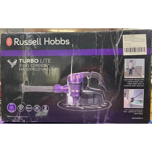 52 - BOXED RUSSELL HOBBS TURBO LITE HANDHELD VACUUM(A/F)