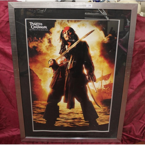 24 - LARGE 'PIRATES OF THE CARIBBEAN' FRAMED PRINT