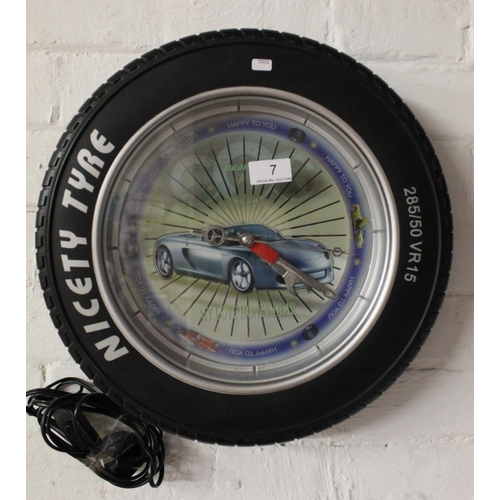 7 - NICETY TYRE WALL CLOCK