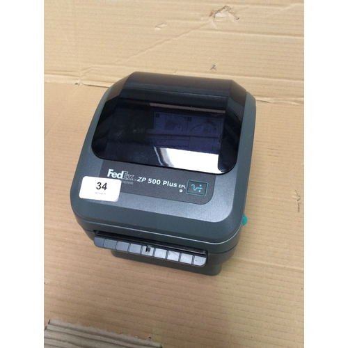 Zebra (fedex badged) ZP500 plus label printer with USB and Ethernet
