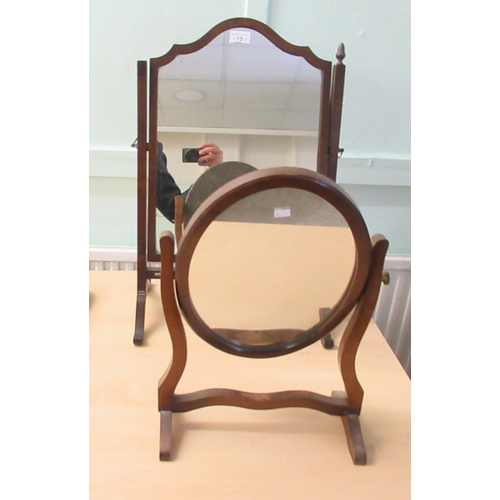 15 - Early 20thC and later furniture: to include three mirrors various sizes; a footstool; and an oak cas...