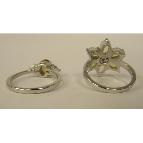 20 - Sterling silver mounted jewellery: to include a Coober Pedy opal and changeable peridot ring