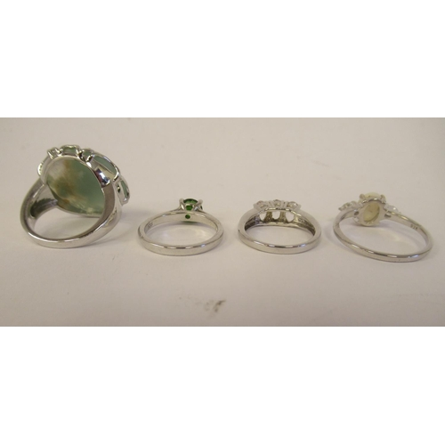 22 - Sterling silver mounted jewellery: to include an Aquaprase ring