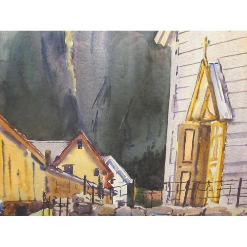 25 - CR Dudley - a clapperboard chapel beside smaller buildings, against a mountainous backdrop watercolo...