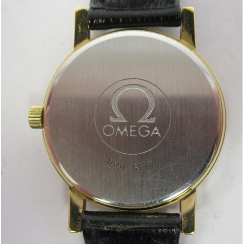 29 - An Omega gold plated/stainless steel cased wristwatch, the automatic movement faced by a gilded bato...