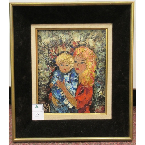 32 - 20thC British School - 'Mother and Child' oil on canvas bears an indistinct signature 10