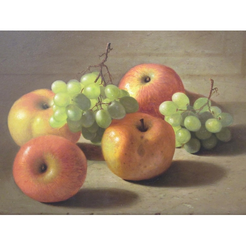 38 - In the manner of Edward Edmondson - a still life study, apples and grapes oil on board 13