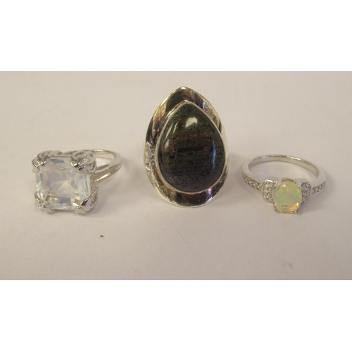 44 - Sterling silver mounted jewellery: to include a Cornelian ring