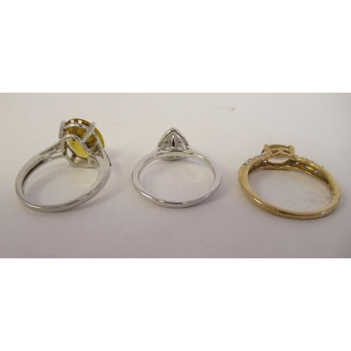46 - Gold mounted jewellery: to include a 9ct Marialite and white zircon ring