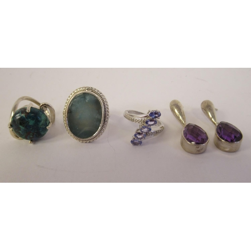 49 - Sterling silver mounted jewellery: to include an Andamooka opal ring
